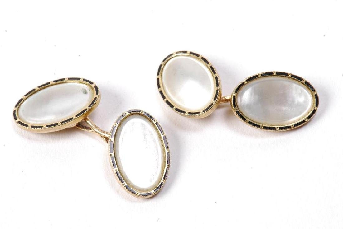 (2) PAIR OF 14k GOLD and DIAMOND CUFF LINKS - 6