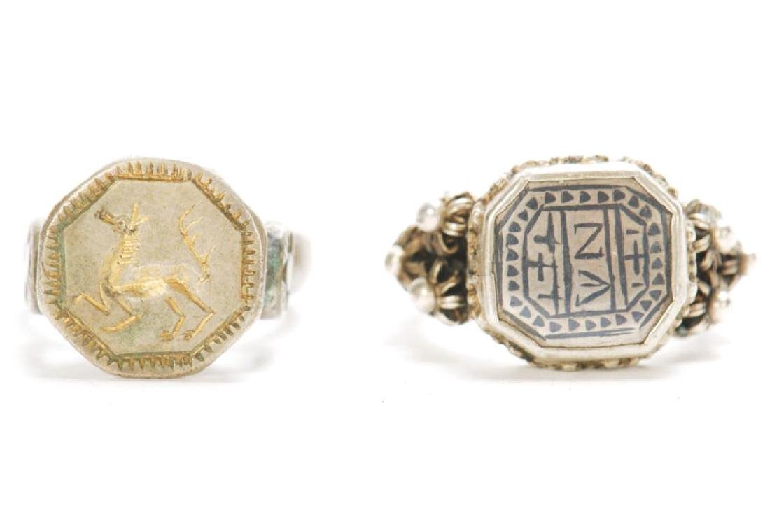 TWO ANTIQUE SILVER BALKAN RINGS