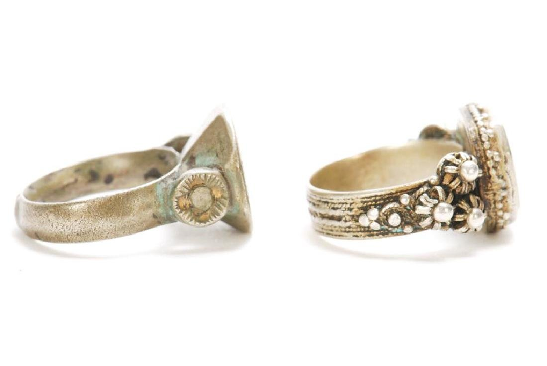 TWO ANTIQUE SILVER BALKAN RINGS - 4
