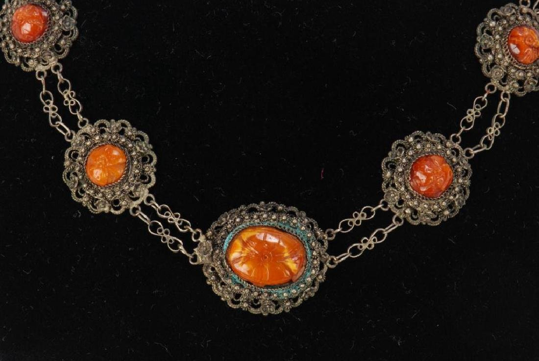 LOT OF MISC JEWELRY INCLUDING AMBER, CORAL ETC - 10