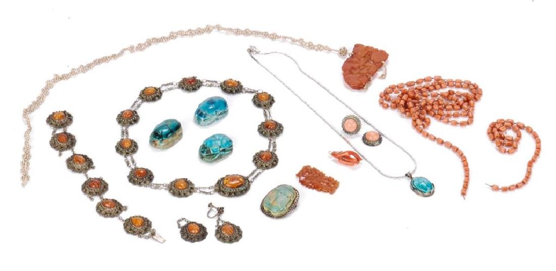 LOT OF MISC JEWELRY INCLUDING AMBER, CORAL ETC