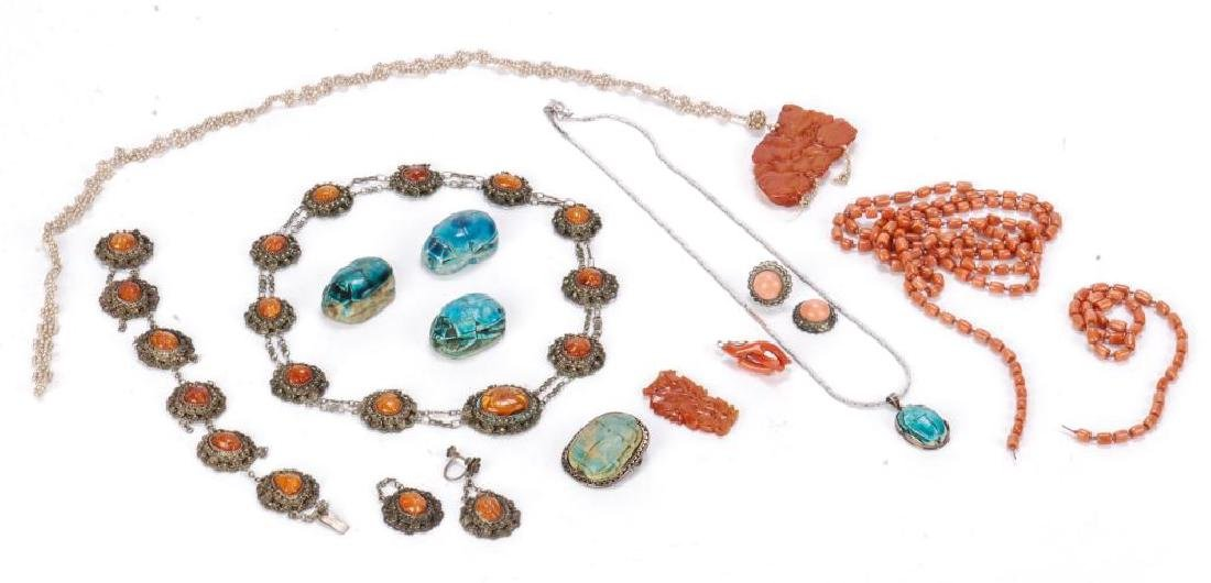 LOT OF MISC JEWELRY INCLUDING AMBER, CORAL ETC - 5