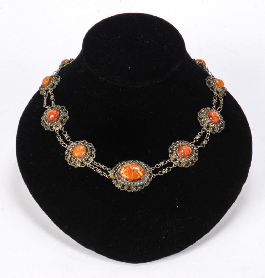 LOT OF MISC JEWELRY INCLUDING AMBER, CORAL ETC - 9
