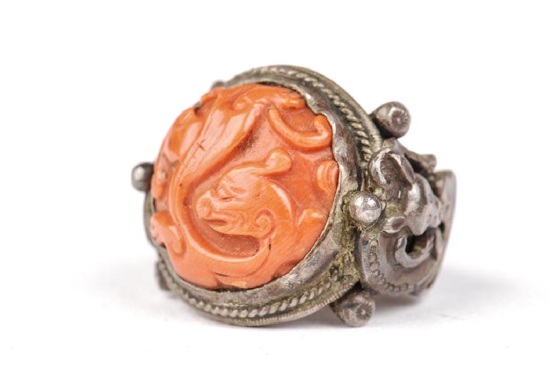 EARLY ASIAN SILVER AND CORAL RING - 2