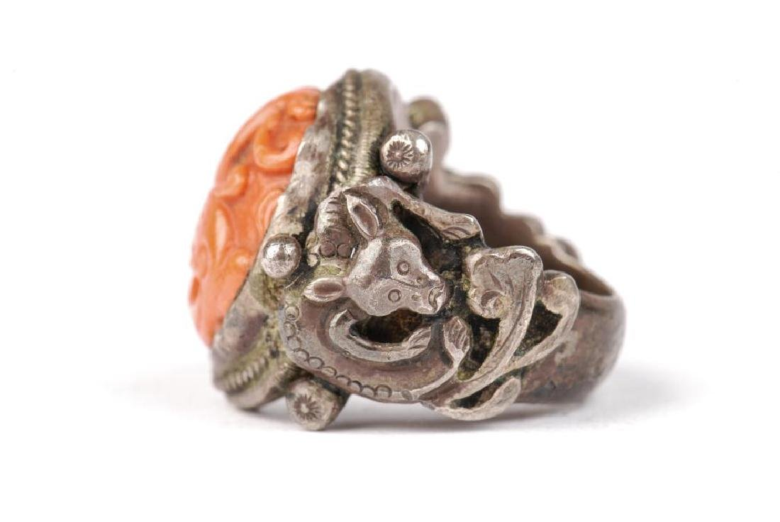 EARLY ASIAN SILVER AND CORAL RING - 3