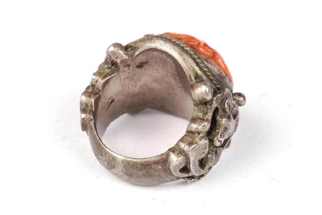 EARLY ASIAN SILVER AND CORAL RING - 4