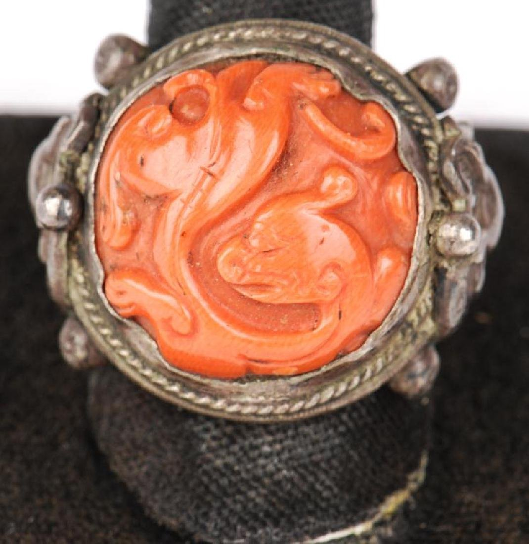 EARLY ASIAN SILVER AND CORAL RING - 5