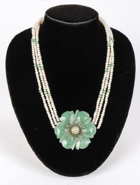 Pearl And Jade Necklace