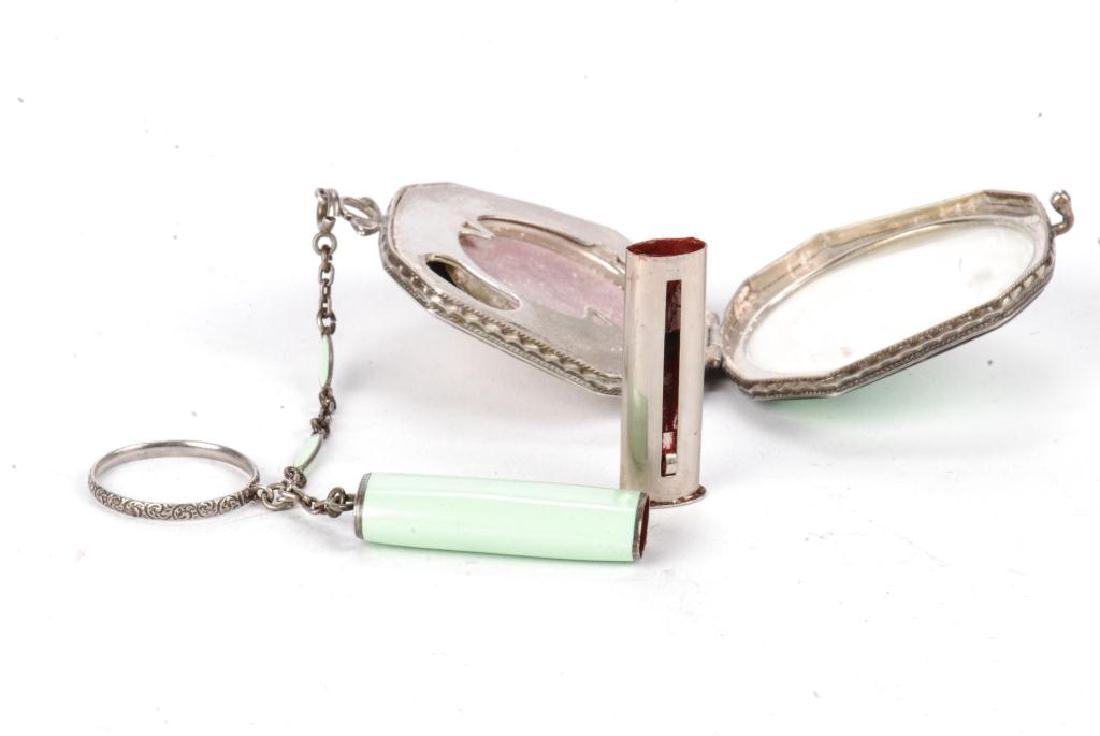 ART DECO STERLING SILVER COMPACT AND LIPSTICK - 3