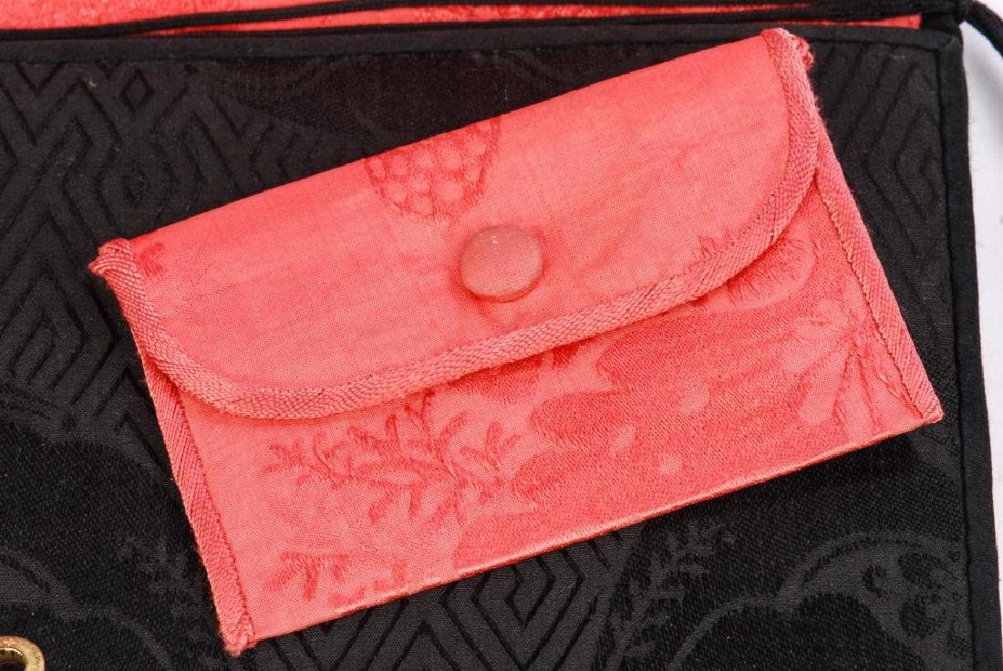 ASIAN PURSE WITH CARVED WHITE JADE APPLIQUE - 2