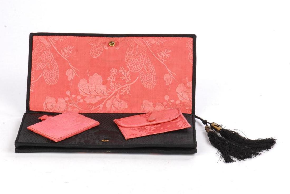 ASIAN PURSE WITH CARVED WHITE JADE APPLIQUE - 3