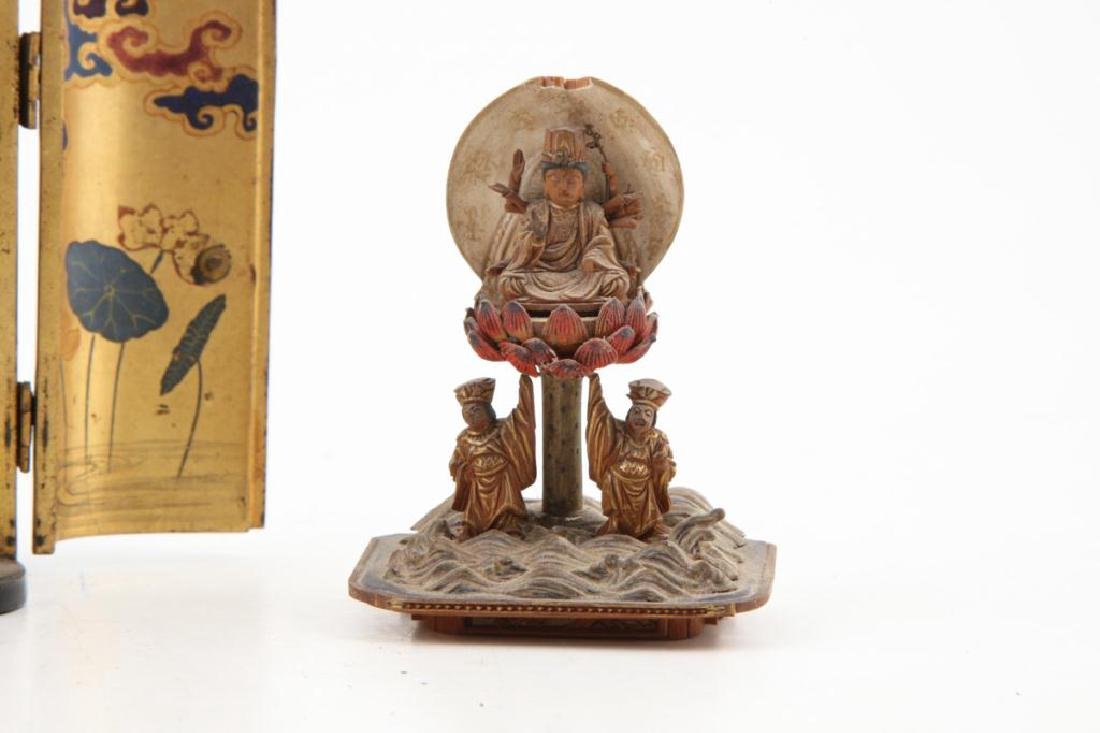 JAPANESE MEIJI PERIOD WOOD BUDDHA IN LACQUER CASE - 6