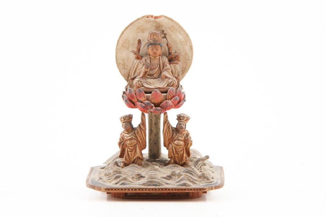 JAPANESE MEIJI PERIOD WOOD BUDDHA IN LACQUER CASE - 8