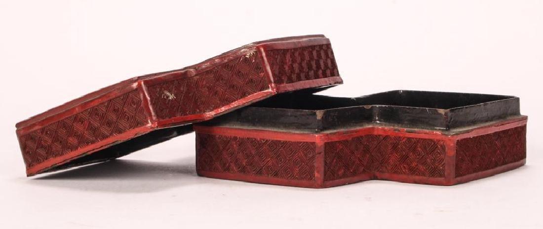 (19th c) CHINESE CINNABAR BOX - 2