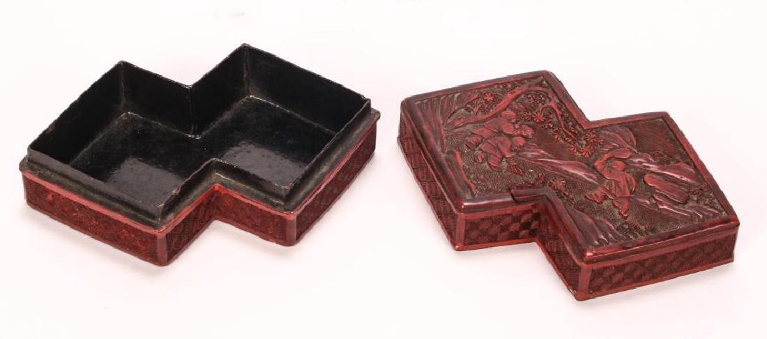 (19th c) CHINESE CINNABAR BOX - 5