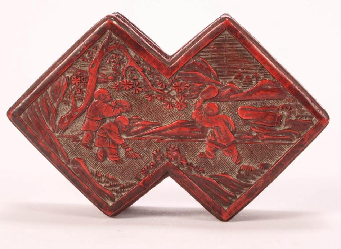 (19th c) CHINESE CINNABAR BOX - 7