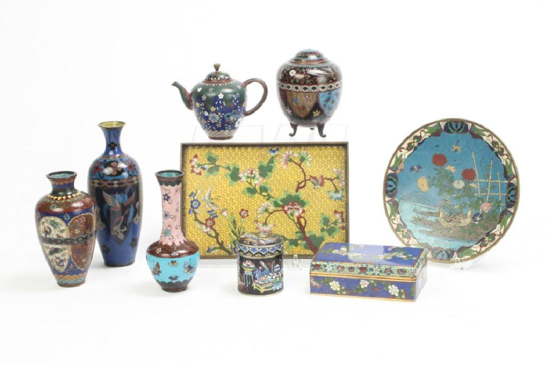 (9) CLOISONNE VASES, BOXES, TRAY AND PLATE