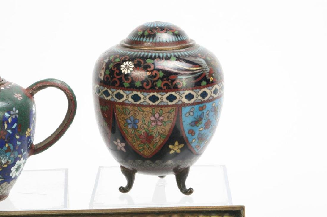 (9) CLOISONNE VASES, BOXES, TRAY AND PLATE - 2