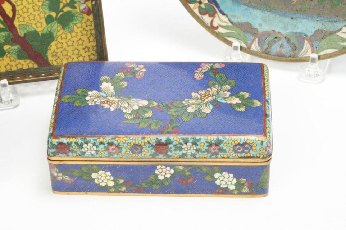 (9) CLOISONNE VASES, BOXES, TRAY AND PLATE - 3