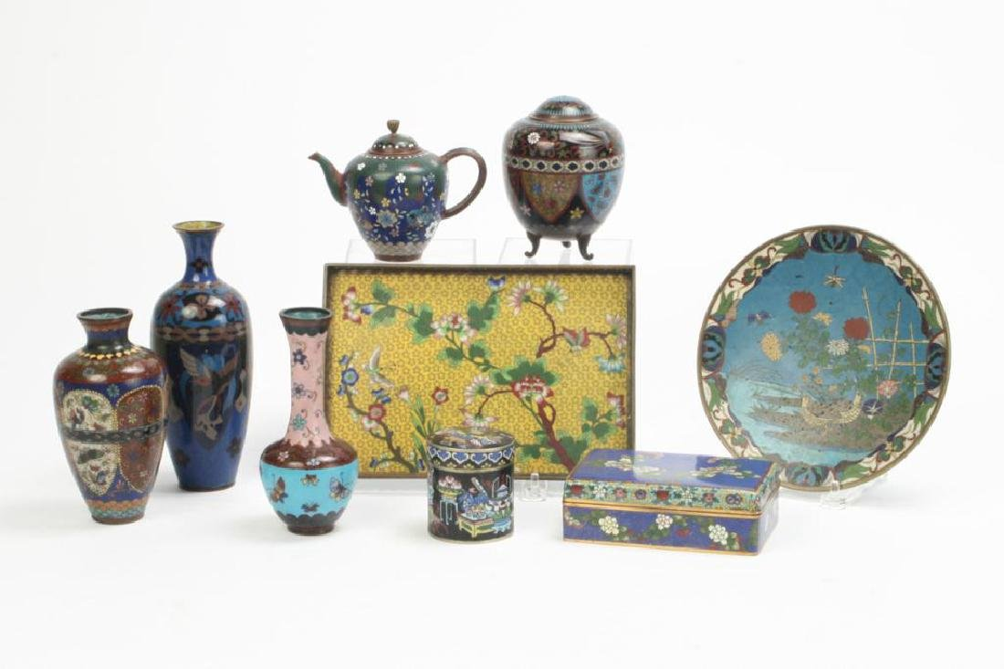 (9) CLOISONNE VASES, BOXES, TRAY AND PLATE - 4