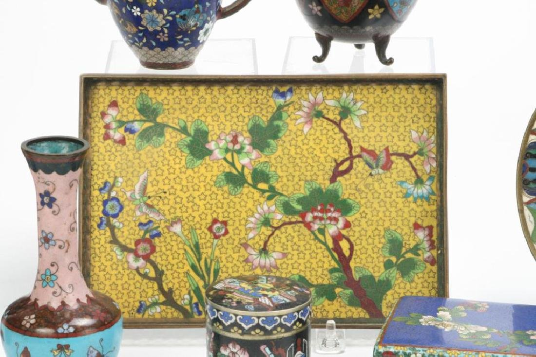 (9) CLOISONNE VASES, BOXES, TRAY AND PLATE - 5