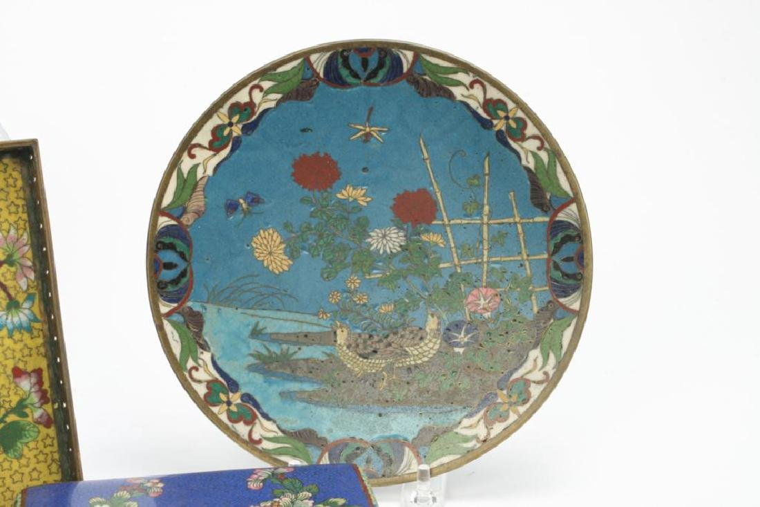 (9) CLOISONNE VASES, BOXES, TRAY AND PLATE - 6