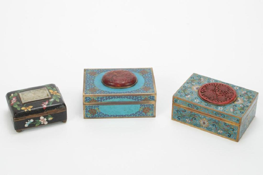 (3) CLOISONNE BOXES INLAID WITH JADE AND CINNABAR