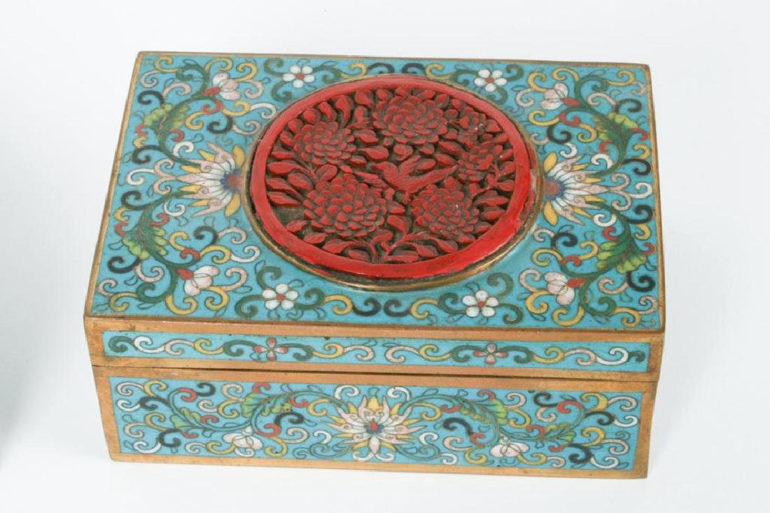 (3) CLOISONNE BOXES INLAID WITH JADE AND CINNABAR - 2