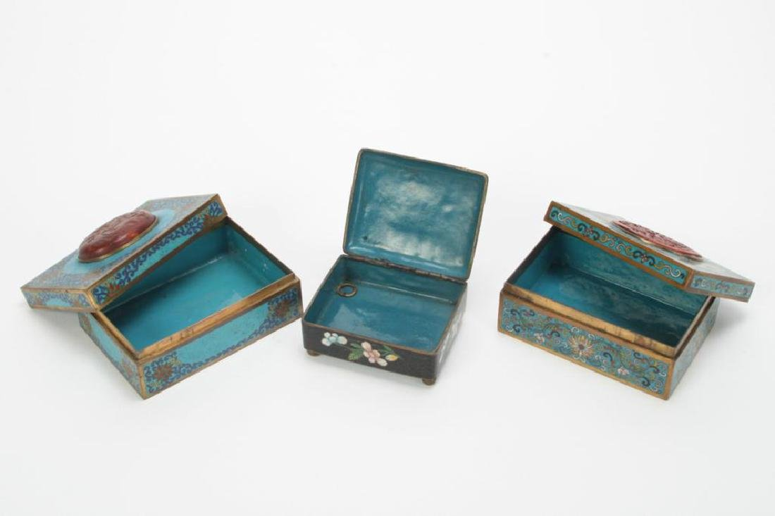 (3) CLOISONNE BOXES INLAID WITH JADE AND CINNABAR - 3