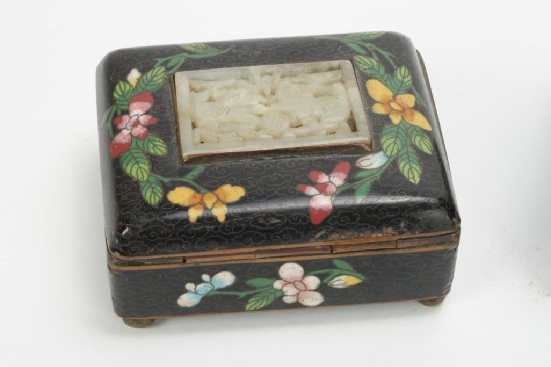 (3) CLOISONNE BOXES INLAID WITH JADE AND CINNABAR - 4