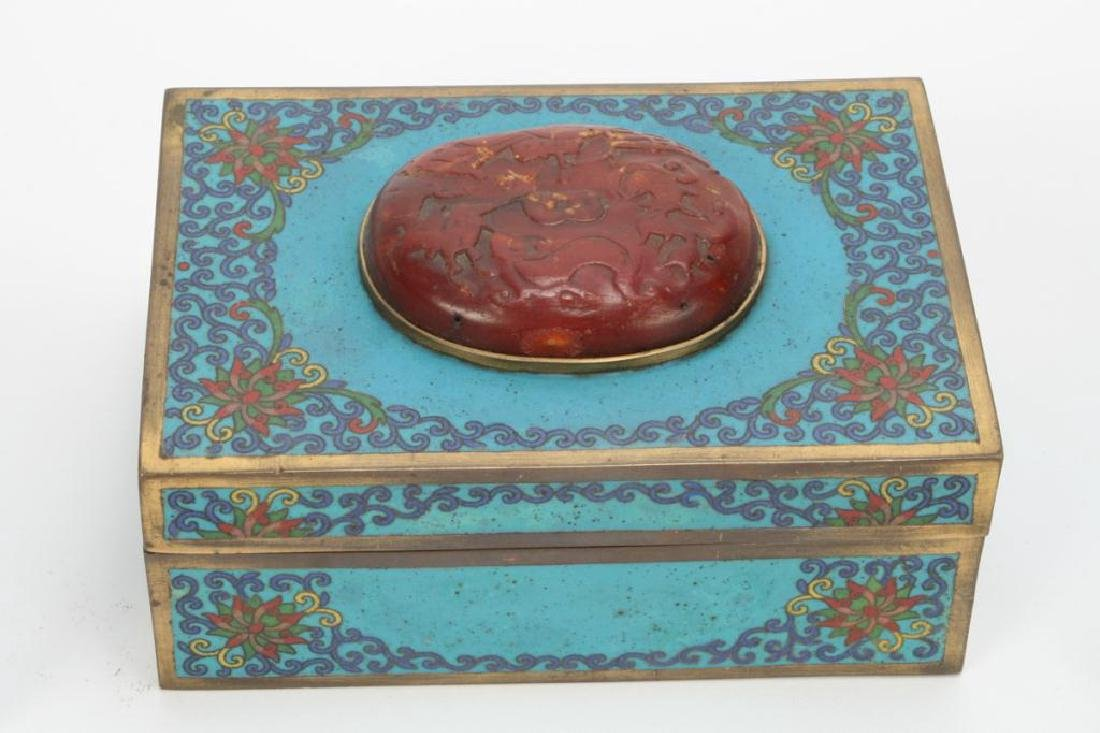(3) CLOISONNE BOXES INLAID WITH JADE AND CINNABAR - 5