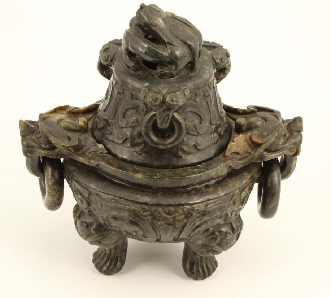 (19th c) CHINESE SPINACH JADE TRIPOD CENSER