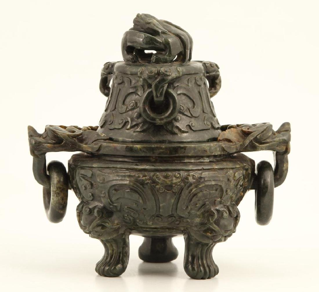(19th c) CHINESE SPINACH JADE TRIPOD CENSER - 2