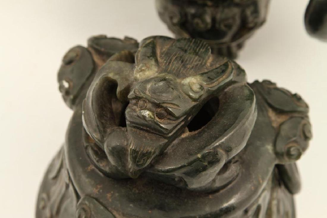 (19th c) CHINESE SPINACH JADE TRIPOD CENSER - 3