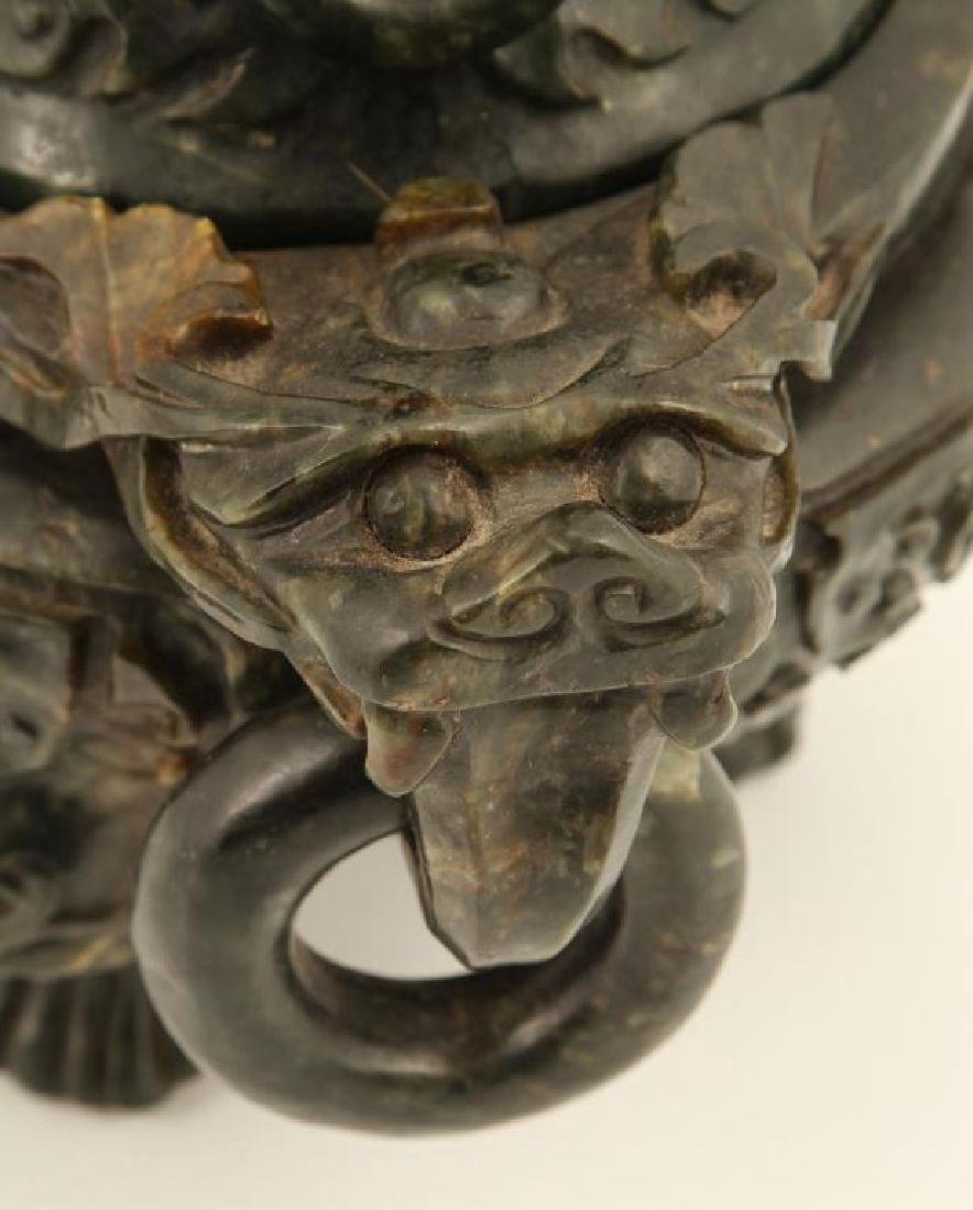 (19th c) CHINESE SPINACH JADE TRIPOD CENSER - 4