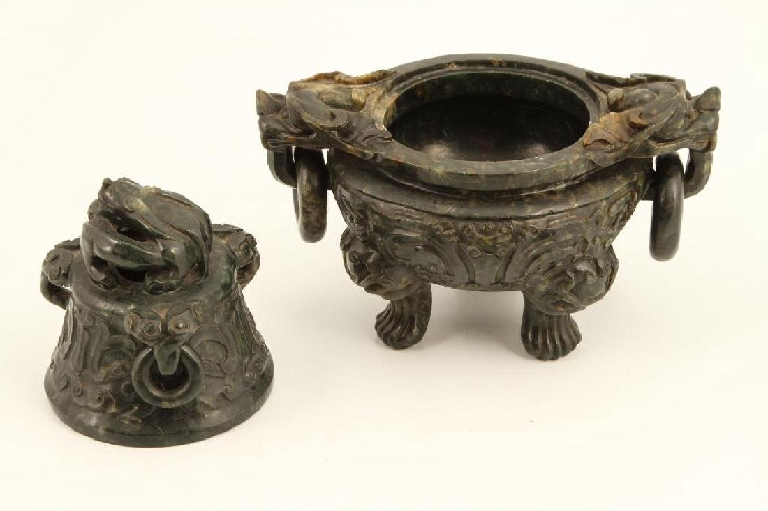 (19th c) CHINESE SPINACH JADE TRIPOD CENSER - 6