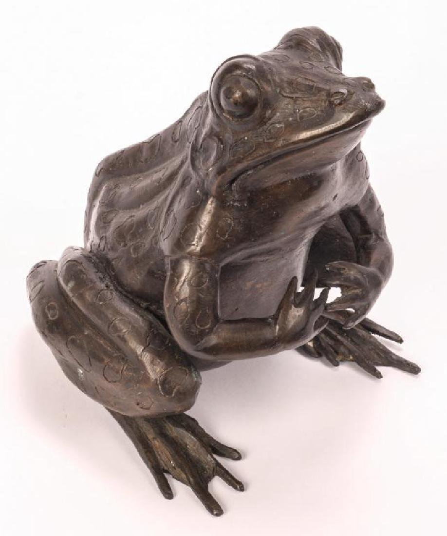 BRONZE FROG SCUPTURE (POSSIBLY ASIAN) - 3