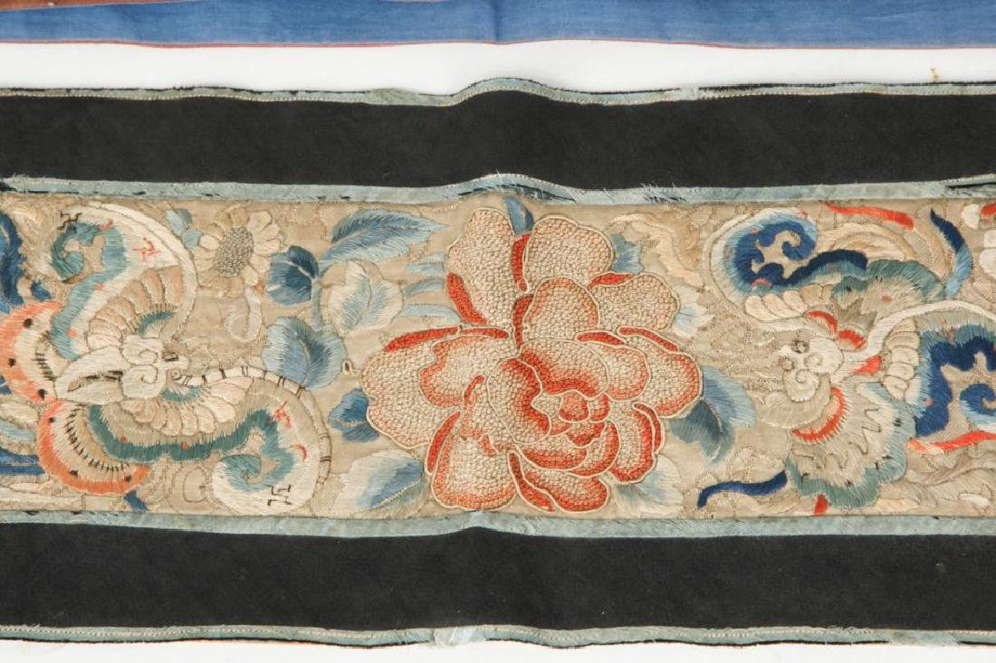 4) CHINESE SILK EMBROIDERED SCREEN PANELS & FABRIC - 3