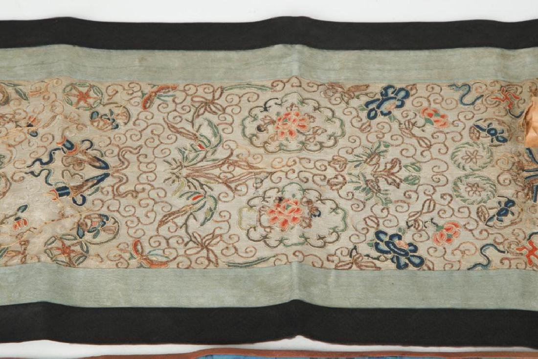 4) CHINESE SILK EMBROIDERED SCREEN PANELS & FABRIC - 5