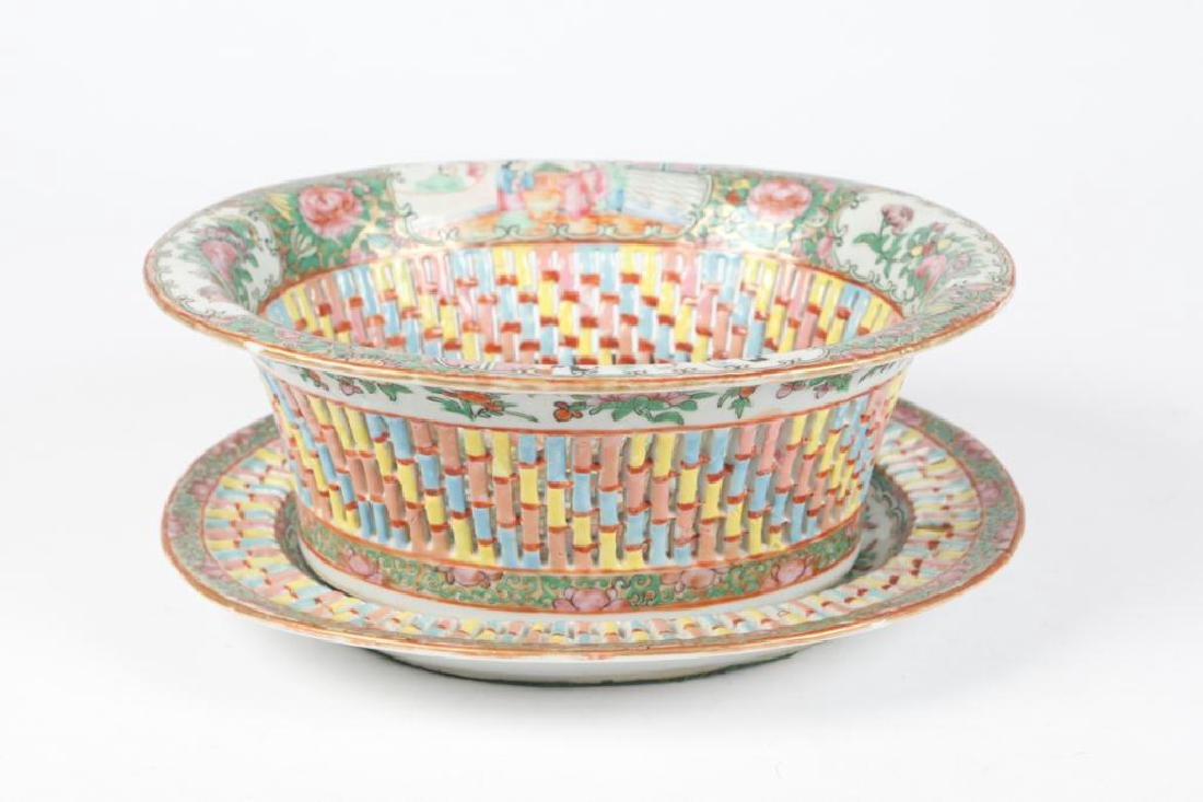 FAMILLE ROSE RETICULATED FRUIT BASKET & UNDERPLATE