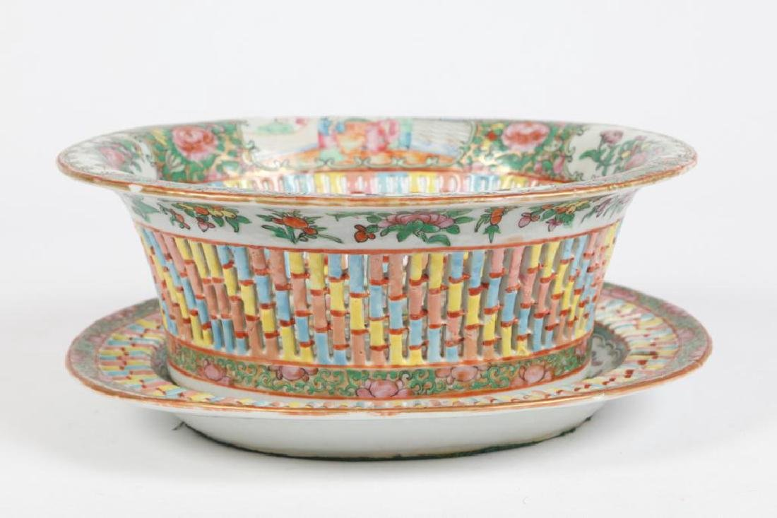 FAMILLE ROSE RETICULATED FRUIT BASKET & UNDERPLATE - 2