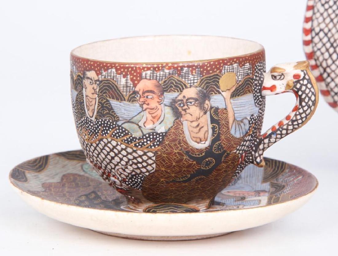 SATSUMA TEA SET with FIGURAL DRAGON SPOUT - 4