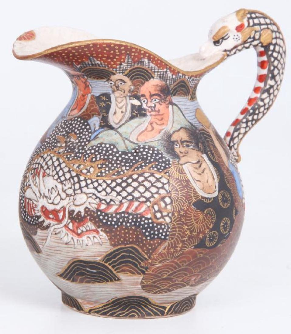 SATSUMA TEA SET with FIGURAL DRAGON SPOUT - 5