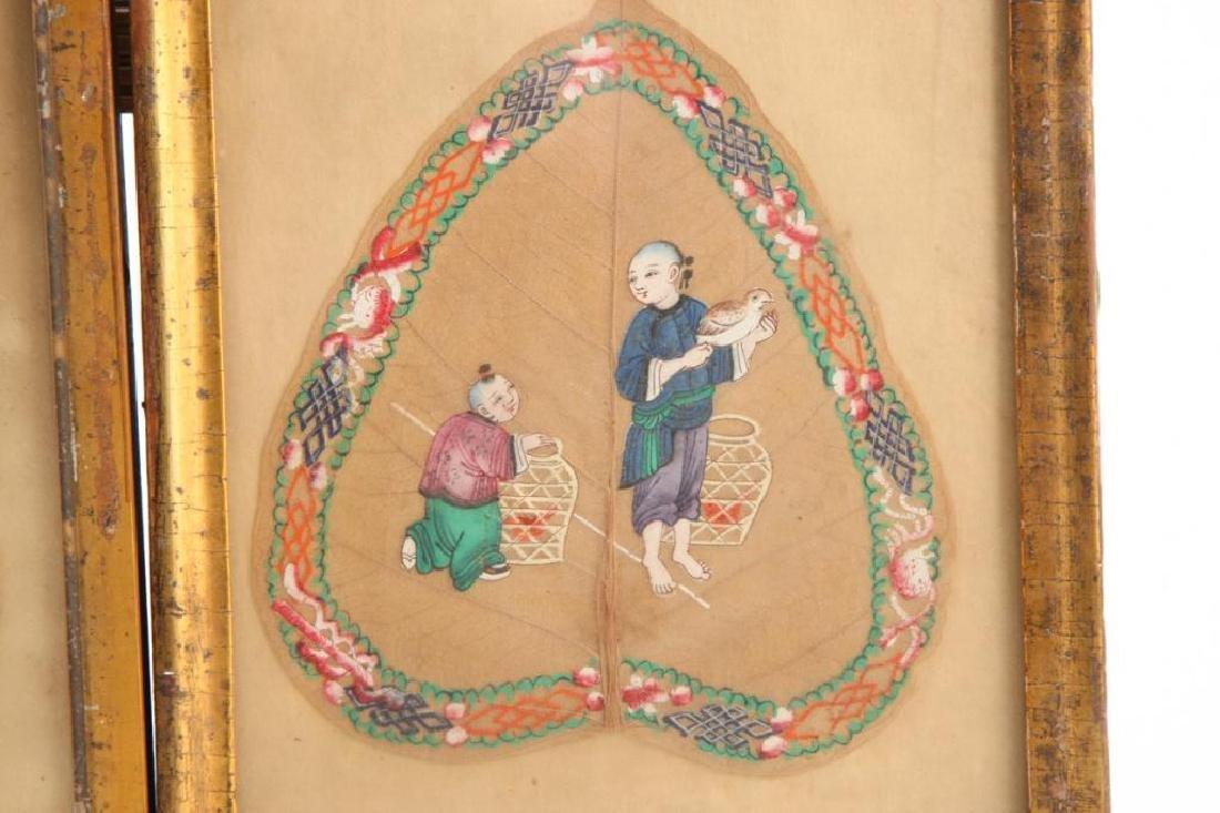 (3) CHINESE LEAF VEIN PAINTINGS - 2