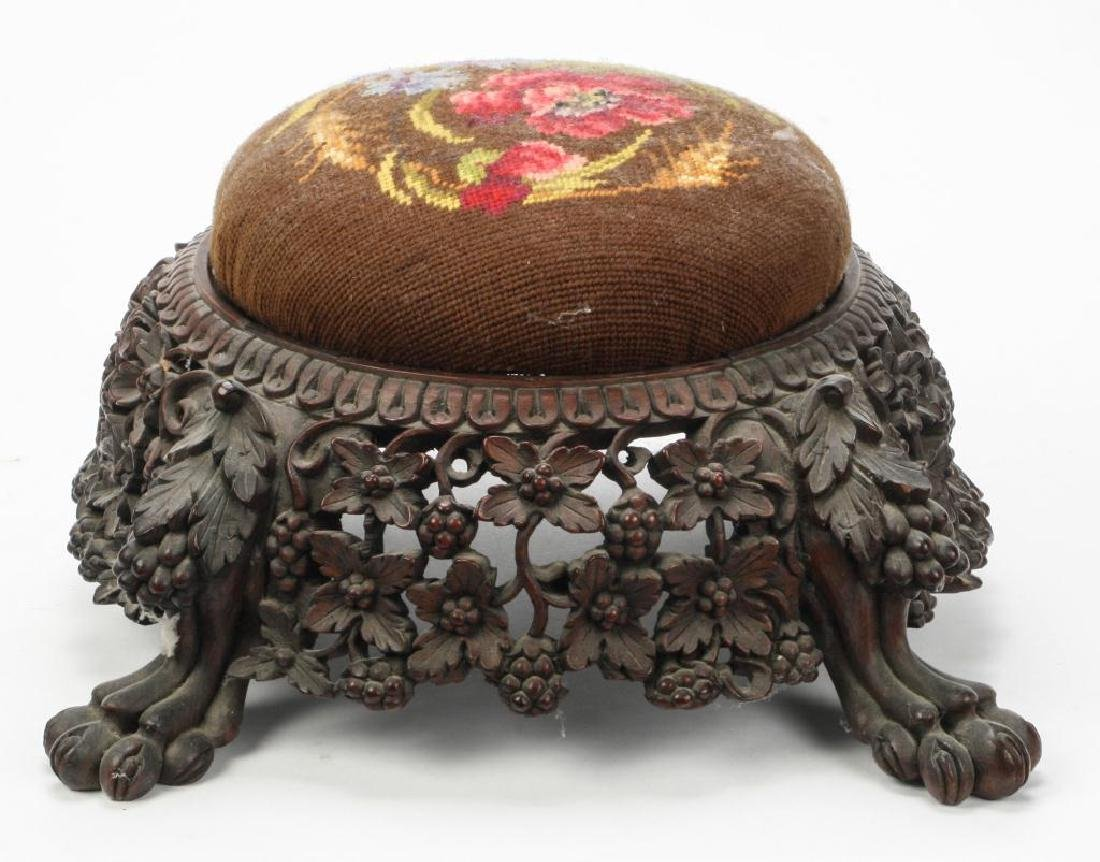 RARE FORM (19th c) CARVED ASIAN PUNCH BOWL STAND - 4
