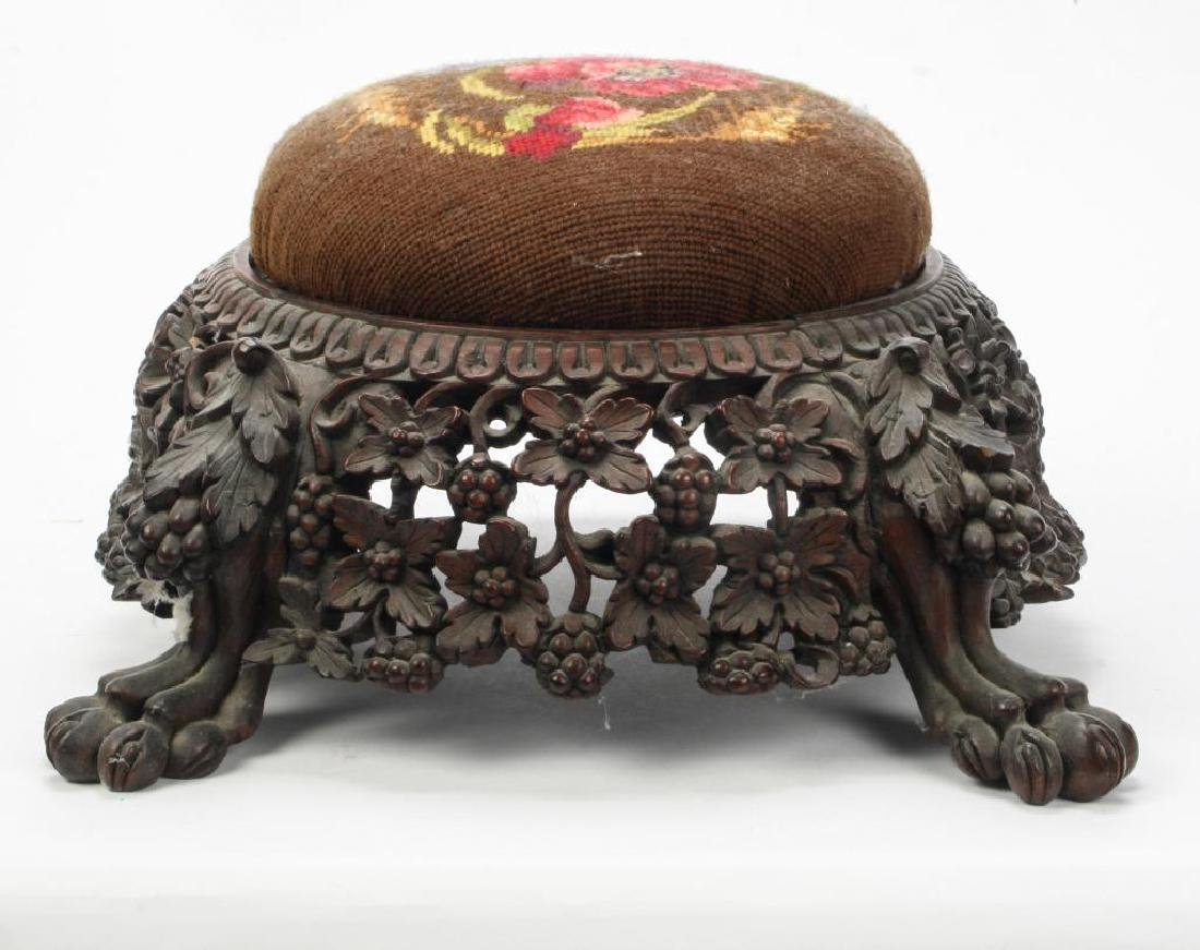 RARE FORM (19th c) CARVED ASIAN PUNCH BOWL STAND - 5