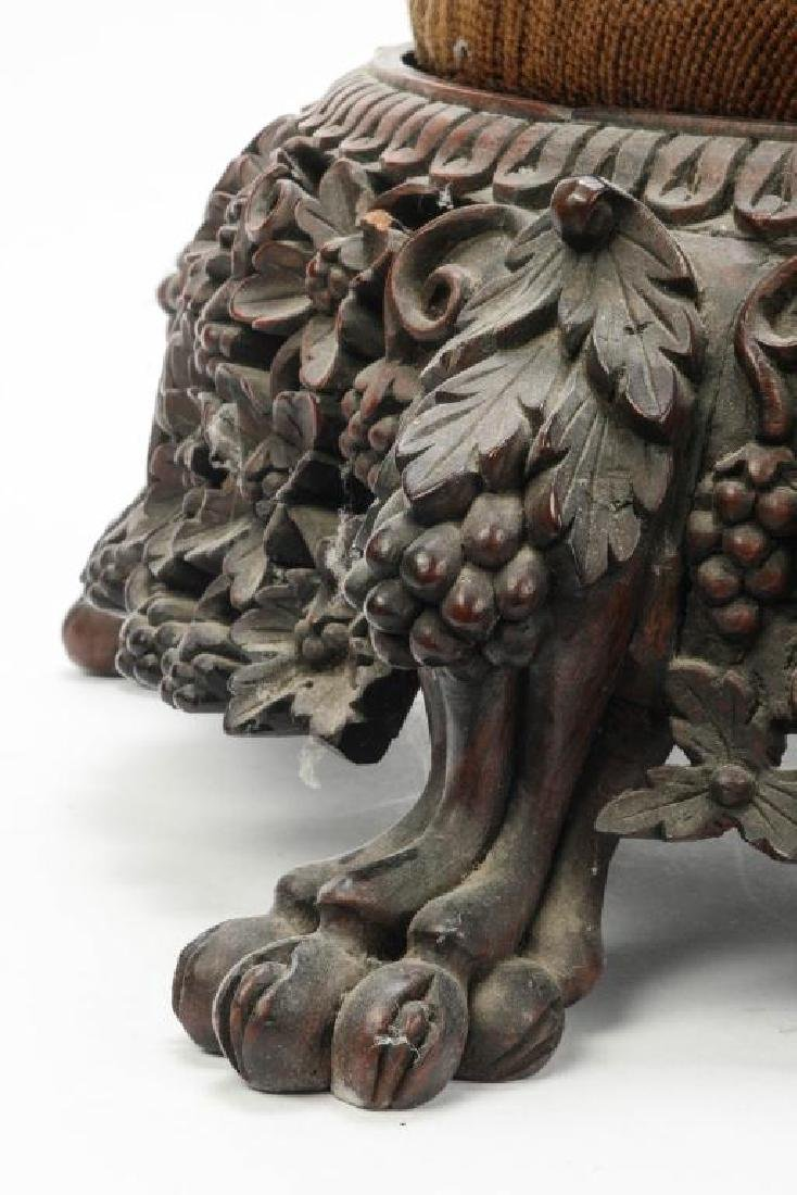 RARE FORM (19th c) CARVED ASIAN PUNCH BOWL STAND - 6