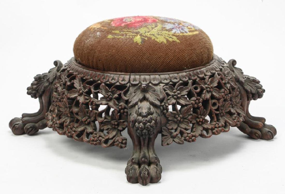 RARE FORM (19th c) CARVED ASIAN PUNCH BOWL STAND - 8
