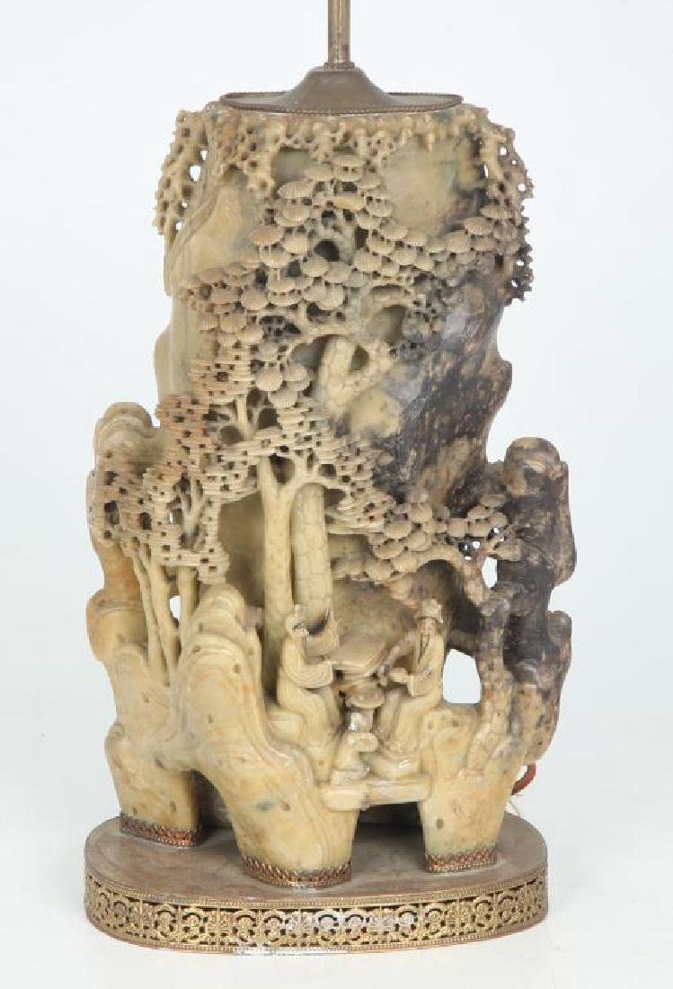 CHINESE CARVED SOAPSTONE LAMP