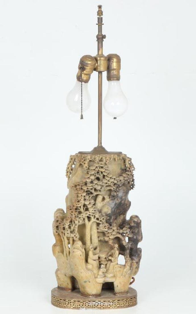 CHINESE CARVED SOAPSTONE LAMP - 4